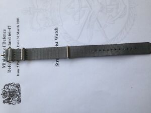 20mm MoD/NATO Style MilitaryWoven Nylon Watch Strap watch Band Grey B20
