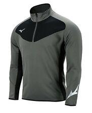 Mizuno Men Half-Zip Warm-Up Jacket L/S Jersey Gray Tee Casual Shirt P2MC8K0207