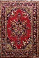 Vintage Traditional Tebriz Floral Area Rug Hand-Knotted Oriental 7x10 RED Carpet