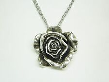 Vintage Sterling Silver Hollow Rose Pendant/Pin with MultiChain Necklace  N607-Y