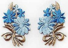 Blue Daisy Flower Bows Appliques. 10 Embroidered, Iron-On Patches