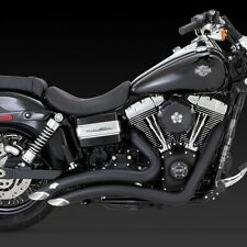 2012-2017 HARLEY DYNA/ FAT/STREET BOB Black Radius Exhaust VANCE AND HINES 46061