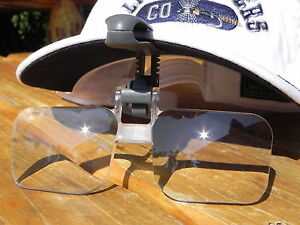 VISORMAG CLIP-ON FLIP-UP MAGNIFYING GLASSES 1.75, 2X or 2.25x POWER FLY FISHING