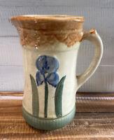 Antique 1912 Brush McCoy Pottery Iris Pitcher Jug Stoneware USA Handpainted