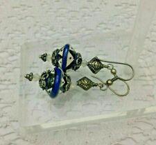 vintage Pottery Beads Sterling Silver Earrings 925 Crystal Dangling