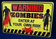 WARNING ZOMBIES -*US MADE* - Embossed Sign - Man Cave Garage Shop Bar Wall Decor