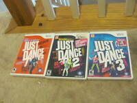 Just Dance 1 2 & 3 Nintendo Wii Lot Bundle Tested and complete