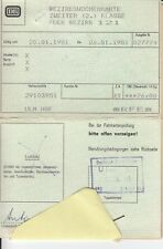 Eisenbahn railway db Bezirkswochenkarte Bez. Augsburg 121, 1981 Unterschrift