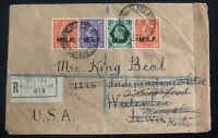 1946 Rhodes Island British Forces Post Office Censored Cover To Waterloo USA