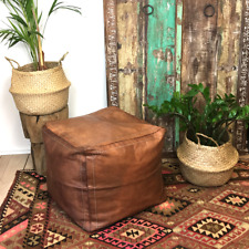 Handmade Moroccan Square Pouf Authentic Leather Footstool Ottoman Natural Tan