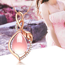 Pink Opal with Bright Crystal Pendant Necklace Jewelry For Fashion Women Gift