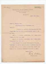 signed 1898 letter District Attorney Emory P Close to Commissioner Frank Bentley