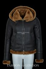 Ladies Hooded Sheepskin Jacket Ginger Real Fur Hoodie Flying B3 Shearling Jacket