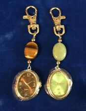 AVON PRECIOUS INSPIRATIONAL Green Brown CLIP WATCHES LOT OF TWO WATCHES NEW