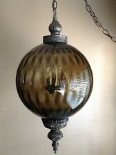 Vintage Large Bronze Glass Globe Hanging Swag Pendant Lamp Ceiling Light Fixture