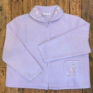 Slenderella Ladies Polar Fleece Floral Embroidered Bed Jacket UK 24/26 SECOND