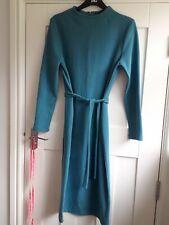 BNWT M&S Ladies Size 12 Regular Teal Green Midi Belted Shift Dress