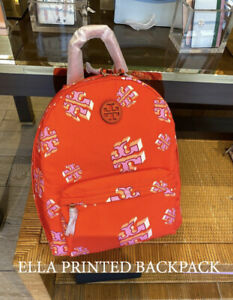 Tory Burch NWT Red Ella Nylon Printed Crazy Logo Pockets Zipped Backpack
