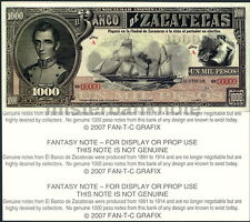 ZACATECAS, MEXICO 1000 PESO FANTASY ART NOTE - SAILING STEAMSHIP, 1-SIDED - NEW!