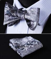 BP802AS Gray Paisley Bowtie Men Silk Self Bow Tie handkerchief set