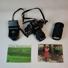 Canon AE-1 Program 35mm Manual SLR Film Camera w/ Ozunon 35-70mm 70-200mm lenses