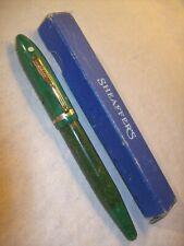 1930~SHEAFFER LIFETIME BALANCE OVERSIZE JADE GREEN FOUNTAIN PEN w/14K GOLD NIB~