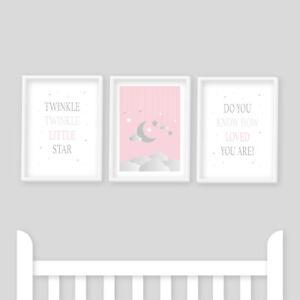 Nursery Prints - Twinkle Twinkle Little Star Pink, Baby Girl, Kids Bedroom, Moon