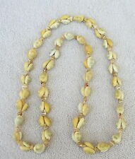 "Vintage 1960's HARD PLASTIC  Faux Seashell  NECKLACE  34"""