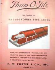 THERM-O-TILE H W PORTER Thermal Underground Pipe Insulation Catalog ASBESTOS '45
