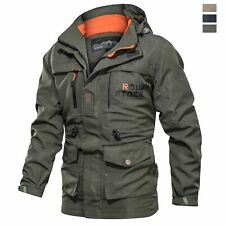 Tactical Men's Outdoor Hiking Jacket Waterproof Soft Shell Thin Coat with Hood