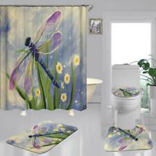 Dragonfly Art Print Shower Curtain Bath Mat Toilet Cover Rug Bathroom Decor