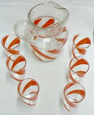 Vintage Orange Stripe Ice Catcher Pitcher And 6 Glasses