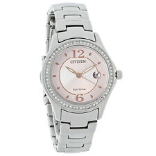 New Citizen Women Swarovski Crystal Blush Pink Stainless Steel Watch FE1140-86X