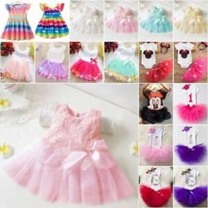 Baby Kinder Mädchen Tutu Kleid Sommerkleid Geburtstag Party Hochzeit Skaterkleid