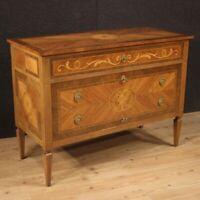 Comò cassettone mobile in legno intarsiato in stile Luigi XVI antico credenza