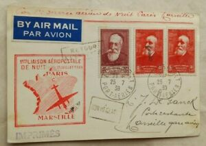 FRANCE 1939 AIRMAIL CARD WITH CACHET FOR FIRST PARIS TO MARSEILLE NIGHT FLIGHT