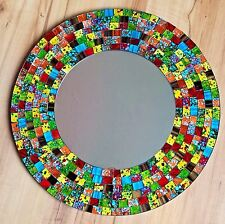 Mosaic Mirror Glass Rainbow Wall Hanging Fair Trade Multi Coloured Variations