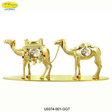 COPPIA CAMMELLI 24K GOLD PLATED CRYSTOCRAFT BOMBONIERE DI LUSSO