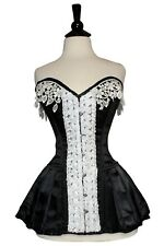 Black Satin Corset White Laced Real Steel Bones Lace up Full Bust 2XS~7XL