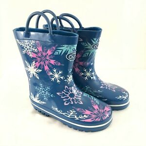 Outee Toddler Girls Rain Boots Rubber Slip On Snowflake Blue Purple Size 9