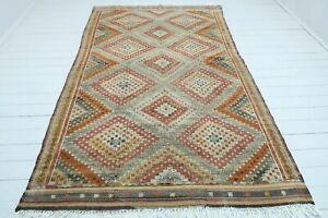 """Vintage Turkish Salihli Nomads Wool Kilim 67""""x113"""" Area Rug, Kelim, Carpet Rug"""