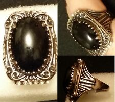 EXQUISITE CARVED ANCIENT GOLD PLATED ALLOY BLACK AGATE RING, SIZE 10