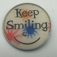 "Keep Smiling Flicker Pin Pinback Button 2-1/2"" Smiley Face  P7"