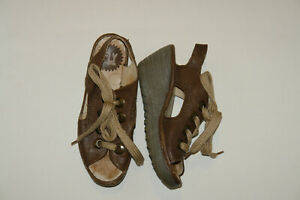 Women's FLY London Ylfa Lace-Up Wedge Sandals Brown Leather Size 36 5.5