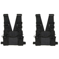 2X Chest Front Pack Pouch Holster Carry Bag BaoFeng UV-5R Kenwood Walkie Talkies