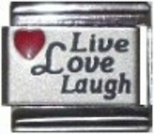 9mm Live Love Laugh W/Red Heart Laser Italian Charm  (LA5673 - 50)