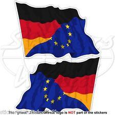 EUROPE-GERMANY Flying Flag, EU-DE European Union-German 120mm Stickers Decals x2