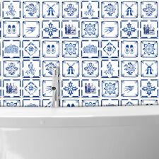 Dutch Blue Tiles Wall Stickers Decal Classic Retro DIY - 15 cm x 15 cm - 24 pcs.