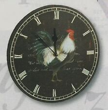 "BLACK ROUND WALL CLOCK W / ROOSTER 11 1/4"" DIAMETER ~ BATTERY"