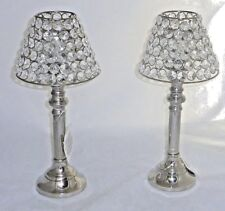 Stainless Steel Crystal Tealight Tabletop Candle Holders with Shade NEW Set 2